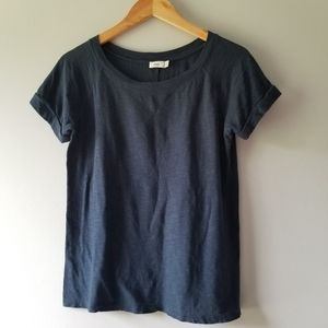 Vince Navy Blue Rolled Sleeves Tee Cotton